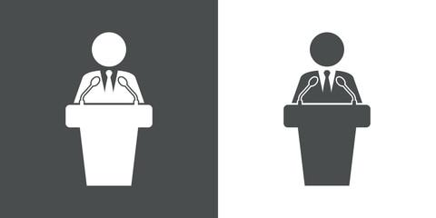 Icono plano orador con microfonos en gris y blanco