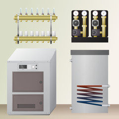 Solid fuel boiler in the room. Vector illustration. The HVAC equipment. manifold, pump, water heating.