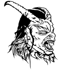 Satan Head - Black and White Devil Illustration, Vector