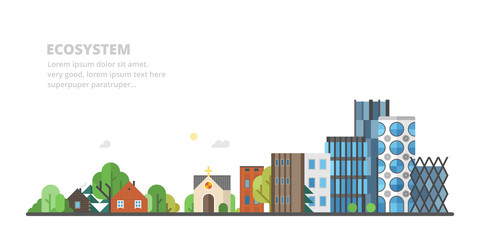 vector flat panorama - hunting lodge, village, old district and modern city,