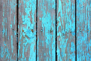 Old blue wooden wall texture with shabby paint