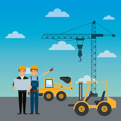 construction workers engineer foreman truck forklift excavator crane vector illustration
