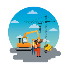 construction workers loading machine mixer concrete crane round sky design vector illustration