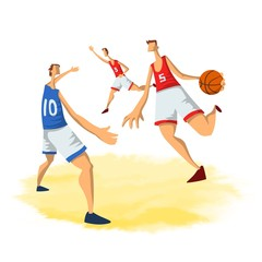 Basketball players in abstract flat style. Men playing with a basketball ball. Vector illustration, isolated on white background.
