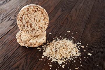 Stack of crispbreads on light wooden table
