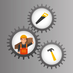 construction worker inside mechanical gear and tools vector illustration