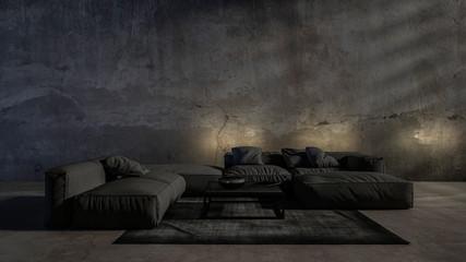Dark gloomy modern trendy luxury living room