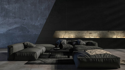 Dark monochromatic grey living room interior