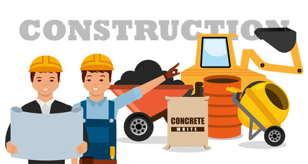 construction workers machinery wheelbarrow mixer concrete barrel vector illustration