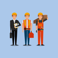 construction workers engineer foreman employee vector illustration