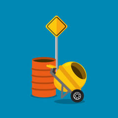 concret mixer and barrel road sign construction vector illustration