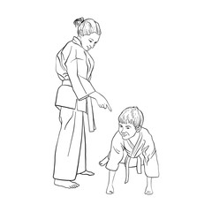 young karate boy and girl