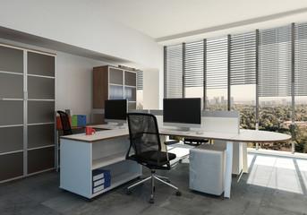 Empty workstation in office