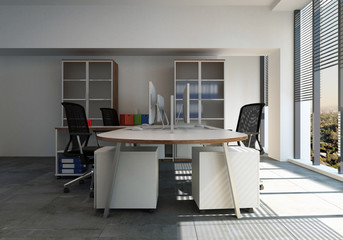 Empty desk with chairs in office room