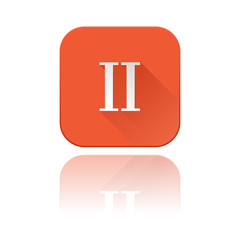 II roman numeral. Orange square icon with reflection
