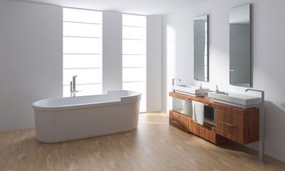 Bathtub with washbasin in minimalist bathroom