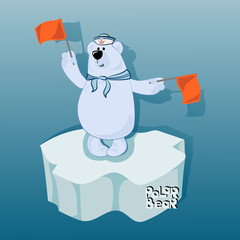Bbear-sailor signals with semaphore flags. Emblem, poster with a polar bear. Design for printing on fabric or paper. Illustration for children's book in cartoon style.