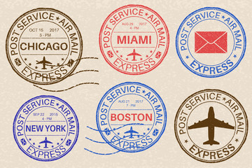 Postmarks. Collection of ink stamps on beige background