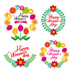 beautiful wreaths floral decoration for womens day celebration vector illustration