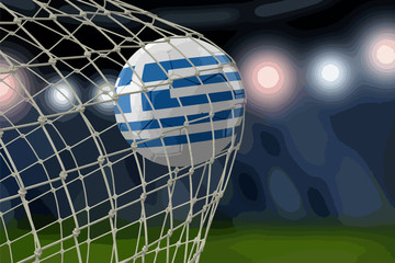 Greek soccerball in net