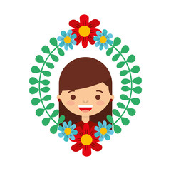 floral wreath leaves with happy girl vector illustration