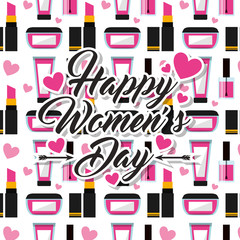 make up cosmetics happy womens day background vector illustration