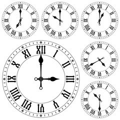 Clock with roman numerals. Set