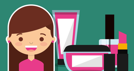 cute girl with make up cosmetic set vector illustration