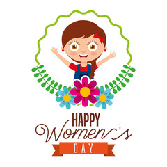 cute girl smiling round frame flowers happy womens day poster vector illustration