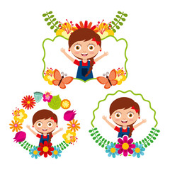 differents label cute girl happy flowers floral decoration vector illustration
