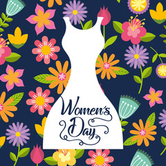 white silhouette female dress card womens day flowers background vector illustration