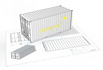 3d illustration of china iso container above engineering drawing