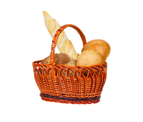 Composition with loafs of bread in wicker basket isolated on white background