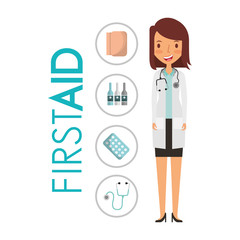 doctor in uniform standing in medical gown with first aid medicine vector illustration