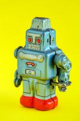 A vintage wind up toy robot
