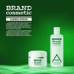 3D realistic cosmetic bottle ads template. Cosmetic brand advertising concept design with abstract glowing waves