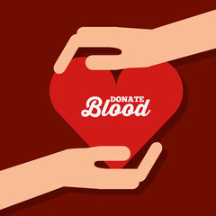 hands with heart donate blood campaign vector illustration