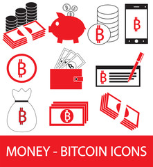 Set, collection or pack of Bitcoin crypto currency icon, logo or vector. Coins, notes or bills, cell or mobile phone, wallet or check. Symbol for bank or banking on digital economy with virtual money