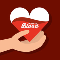 hand holding paper heart donate blood vector illustration