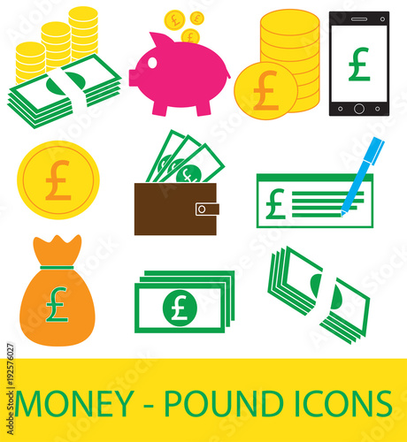 Set Collection Or Pack Of Pound Currency Icon Or Logo Coins Notes