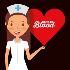 cute nurse holding heart donate blood vector illustration
