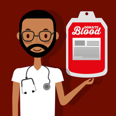 doctor with stethoscope holding blood bag donate vector illustration