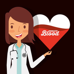 doctor female character with heart blood donate vector illustration