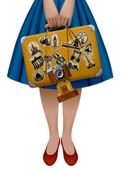 Half of the female figure holding a retro suitcase with stickers from travel and photo camera
