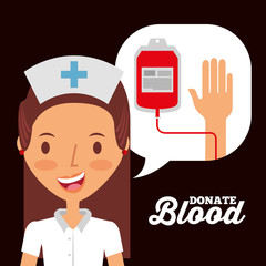 nurse speech bubble with iv bag donate blood invitation card vector illustration