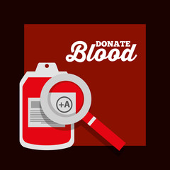 donate blood iv bag plastic magnifier poster vector illustration