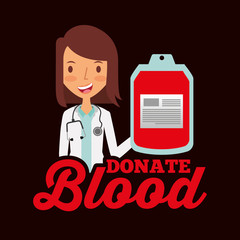 doctor professional holding bag blood donate vector illustration