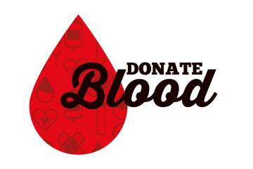 red drop blood donate medical care campaign vector illustration