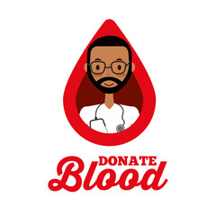 doctor male in drop donate blood healthcare vector illustration