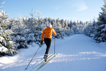 Langlauf im Thüringer Wald, Loipe mit Skifahrer, Rennsteig 8